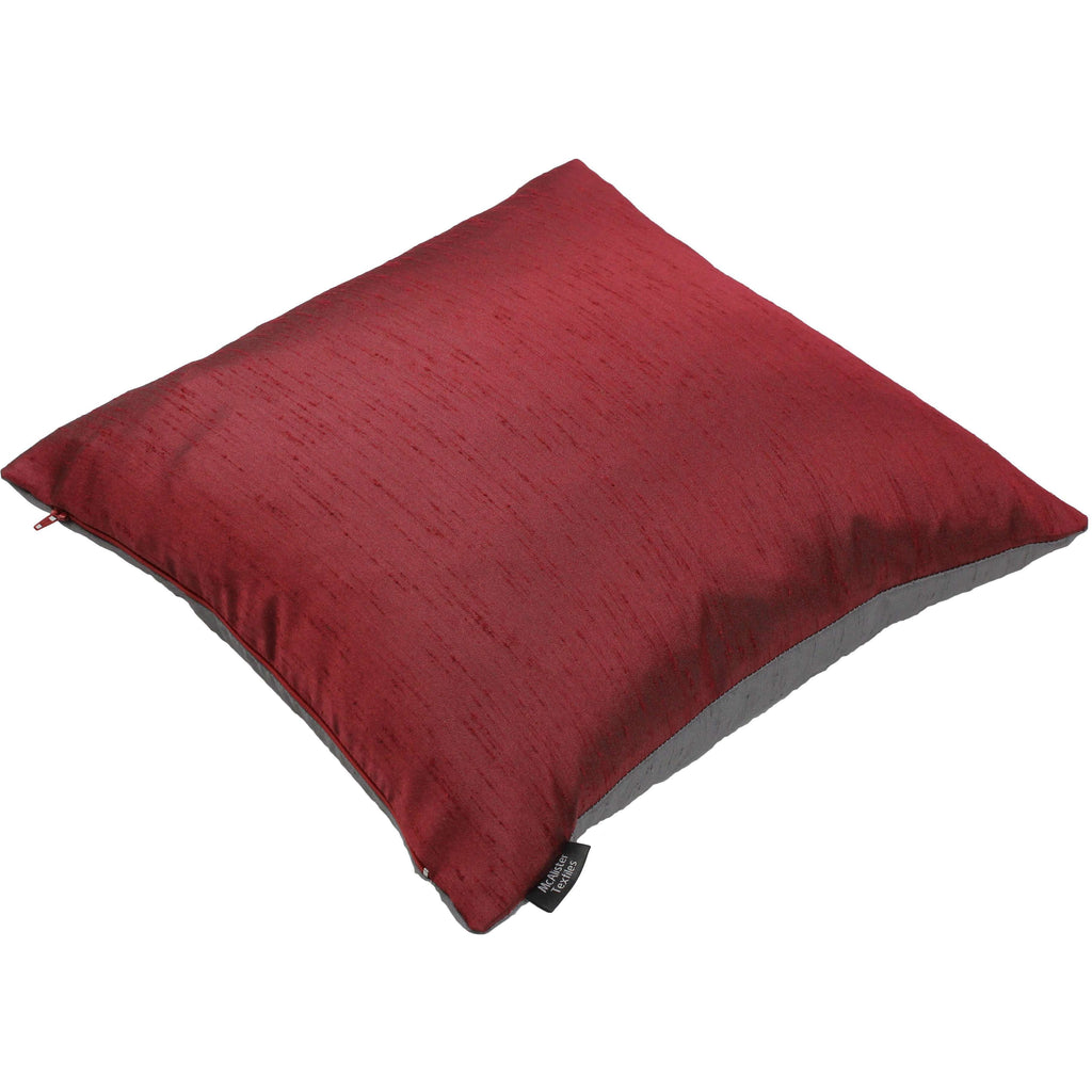 McAlister Textiles Rocco Contrast Faux Silk Red + Grey Cushion Cushions and Covers