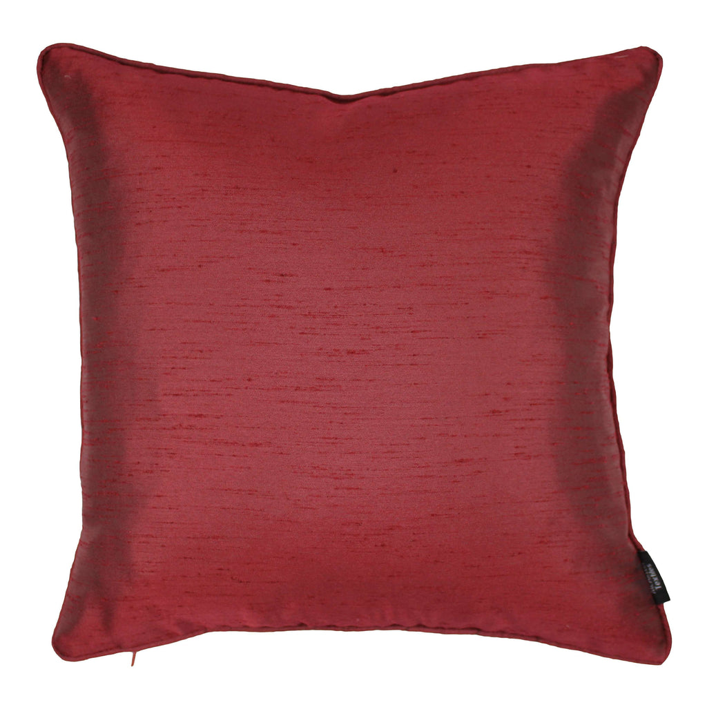 McAlister Textiles Rocco Plain Faux Silk Wine Red Cushion Cushions and Covers Cover Only 43cm x 43cm