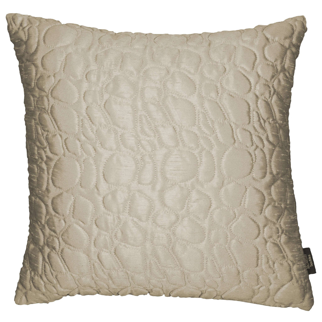 McAlister Textiles Rocco Pebble Quilted Ivory Silk Cushion Cushions and Covers Cover Only 43cm x 43cm