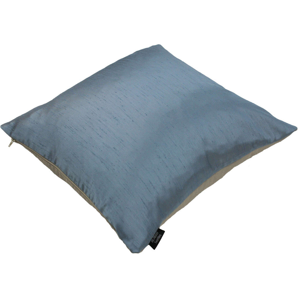 McAlister Textiles Rocco Contrast Faux Silk Pale Blue + Taupe Cushion Cushions and Covers