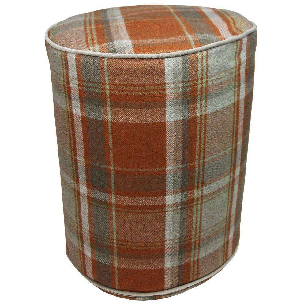 Round Tartan Burnt Orange Ottoman-Round Stool-