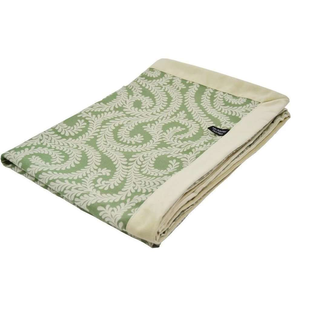 McAlister Textiles Little Leaf Sage Green Throw Throws and Runners Regular (130cm x 200cm)