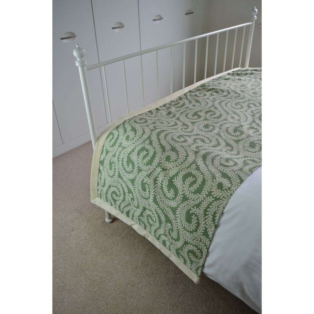 McAlister Textiles Little Leaf Sage Green Throw Throws and Runners