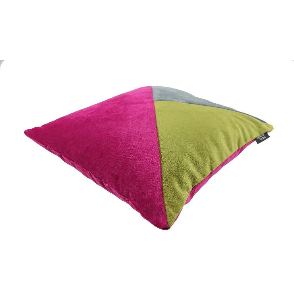 McAlister Textiles Diagonal Patchwork Velvet Pink, Green + Grey Cushion Cushions and Covers