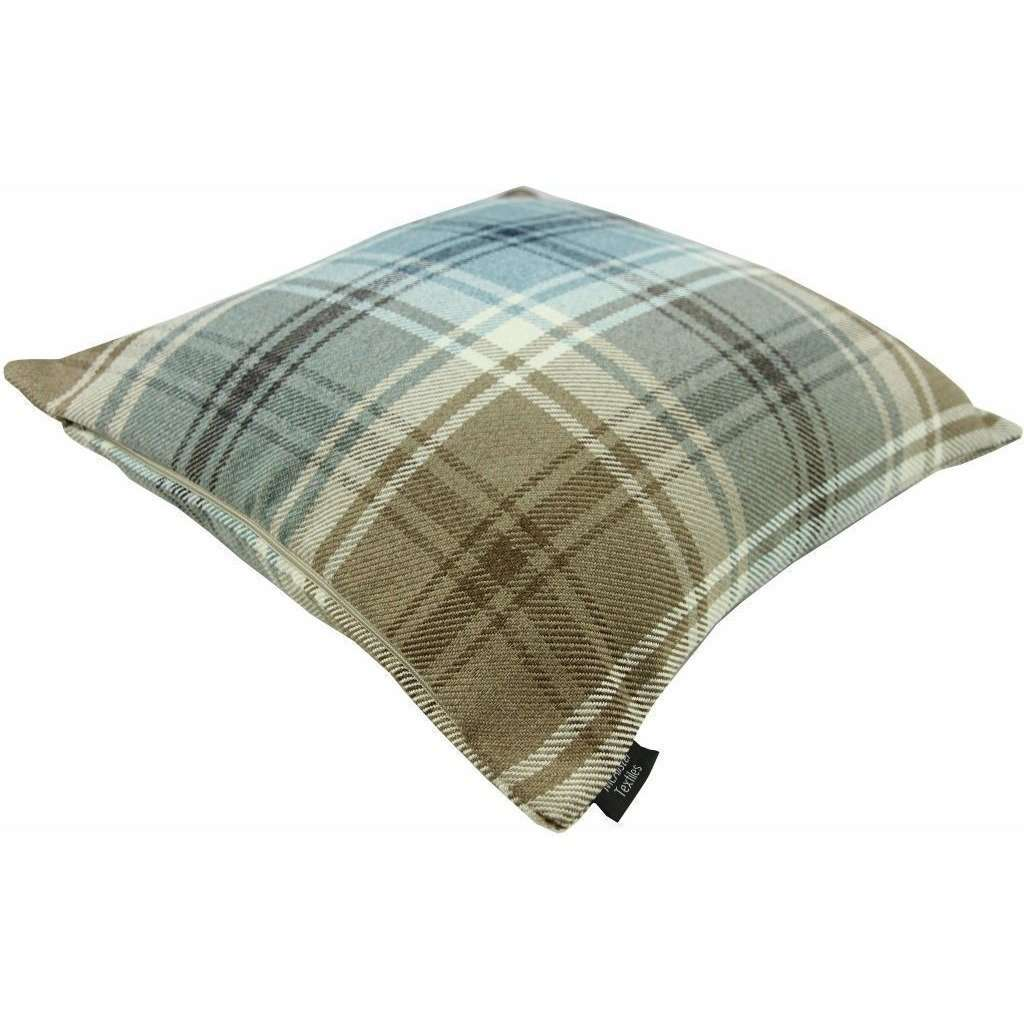 McAlister Textiles Angus Duck Egg Blue Tartan Cushion Cushions and Covers
