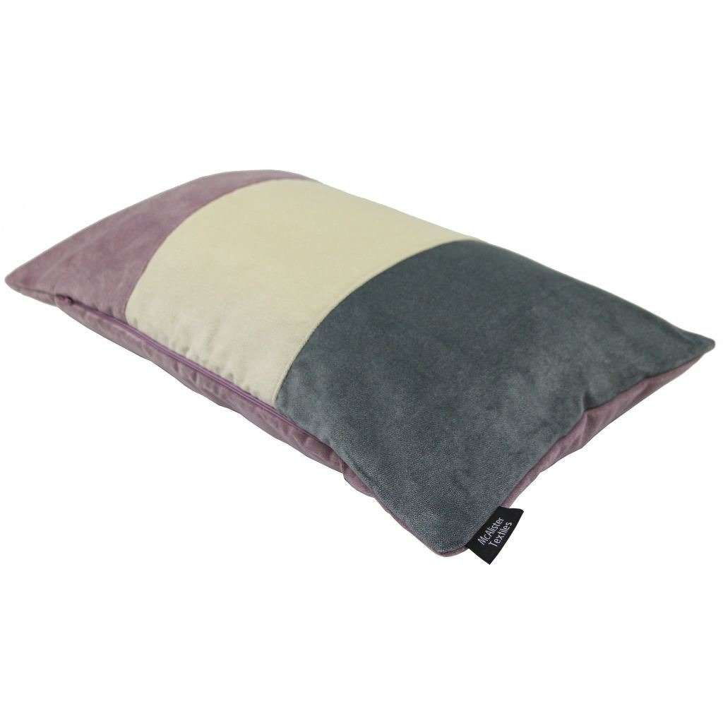 McAlister Textiles 3 Colour Patchwork Velvet Purple, Gold + Grey Pillow Pillow
