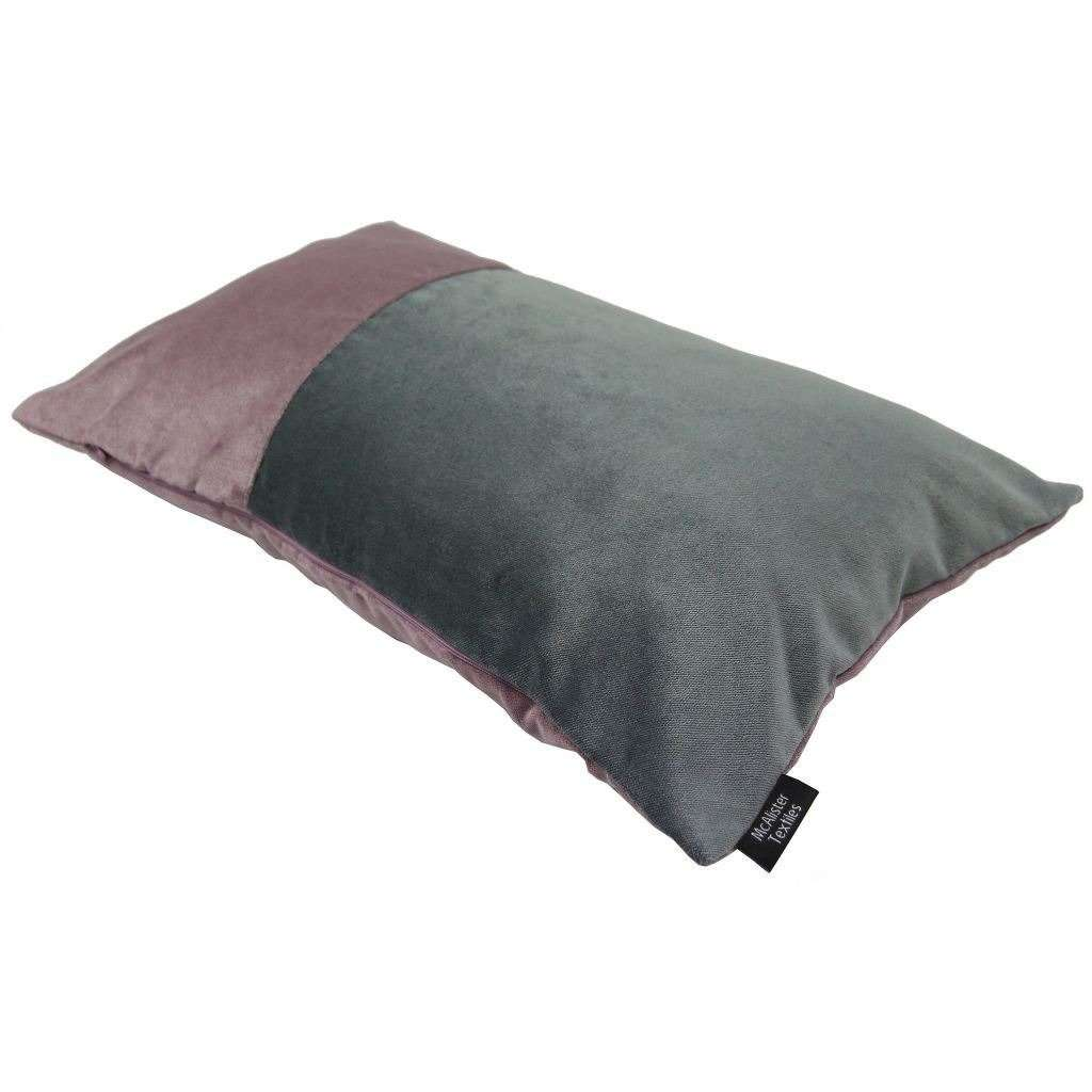 McAlister Textiles 2 Colour Patchwork Velvet Purple + Grey Pillow Pillow