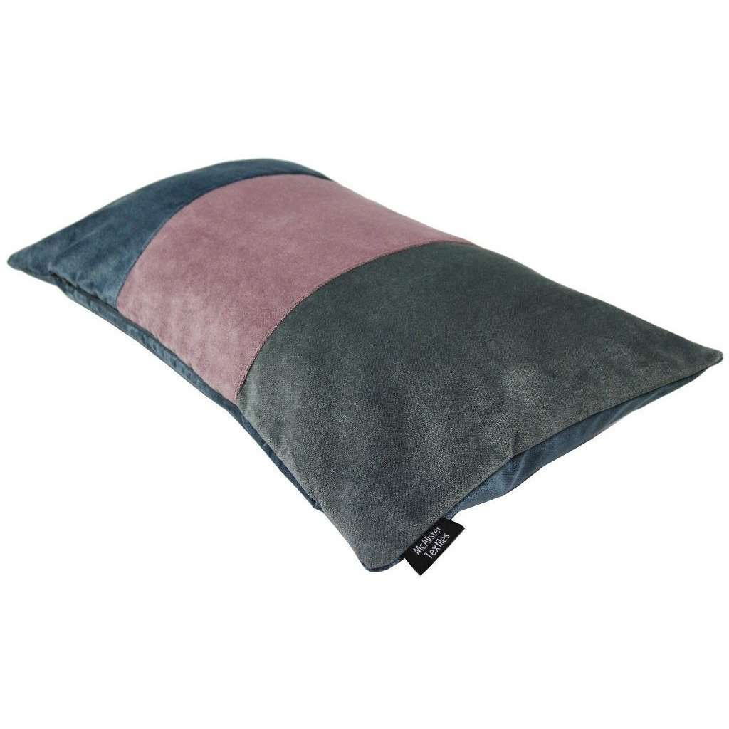 McAlister Textiles 3 Colour Patchwork Velvet Blue, Purple + Grey Pillow Pillow