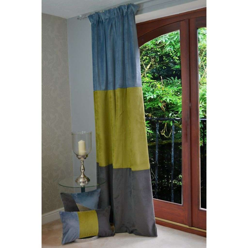 McAlister Textiles Patchwork Velvet Blue, Green + Grey Curtains Tailored Curtains