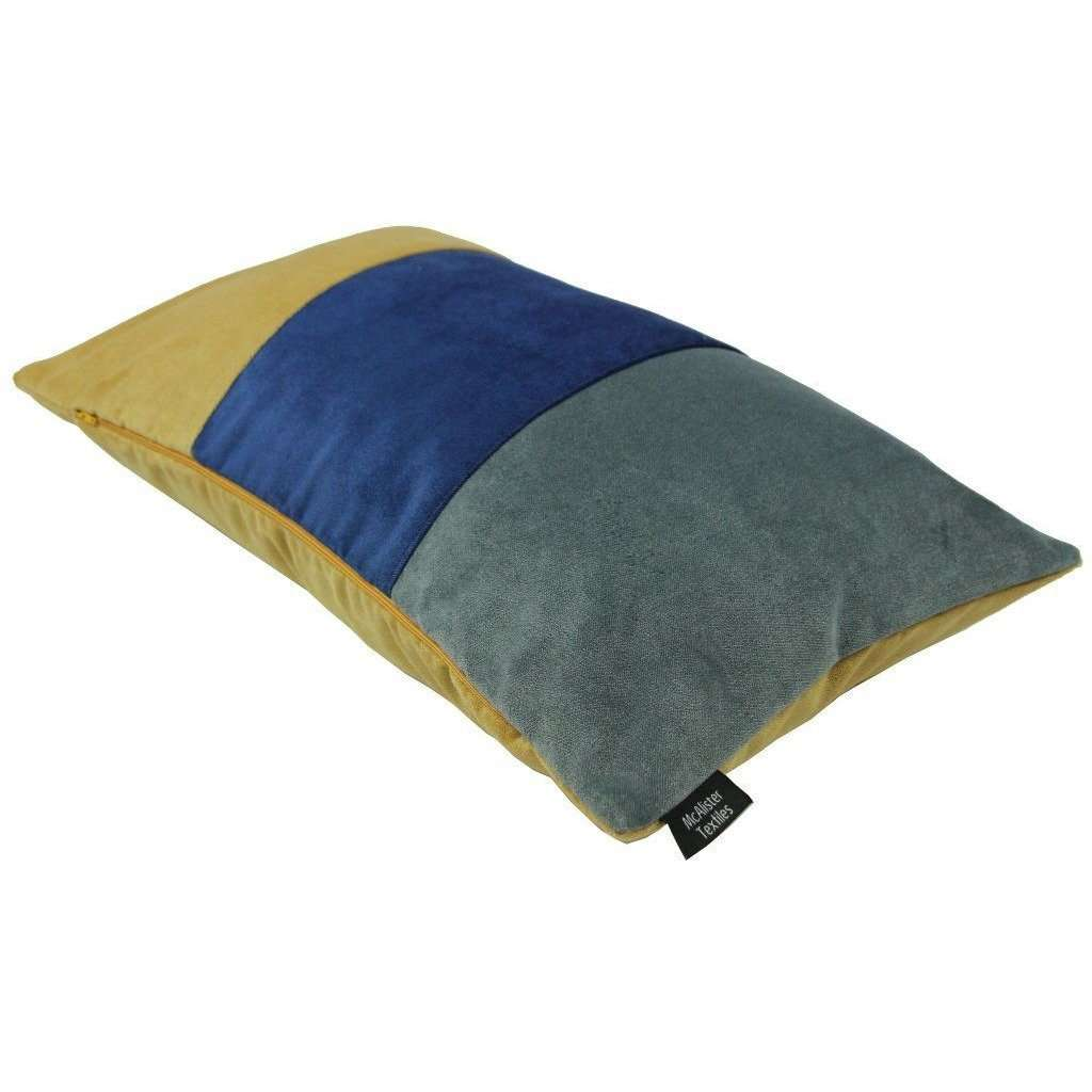 McAlister Textiles 3 Colour Patchwork Velvet Navy Blue, Yellow + Grey Pillow Pillow