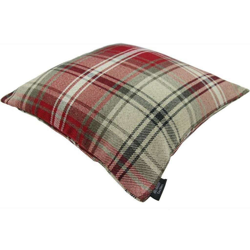 McAlister Textiles Angus Red + White Tartan Cushion Cushions and Covers