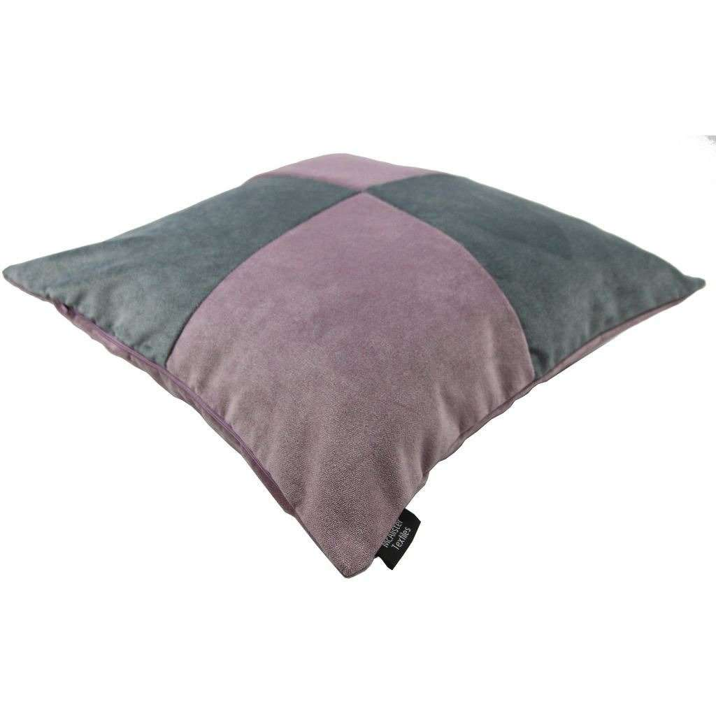 McAlister Textiles Square Patchwork Velvet Purple + Grey Cushion Cushions and Covers