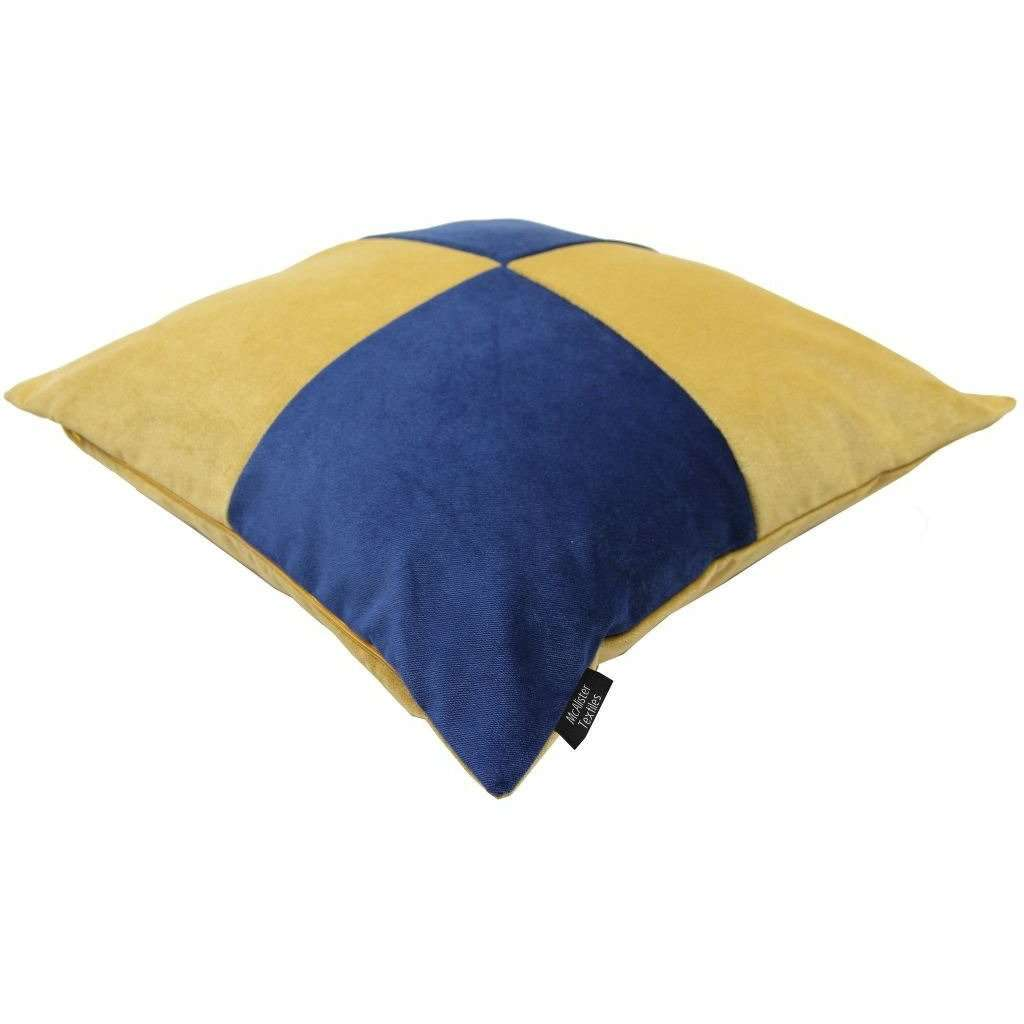 McAlister Textiles Square Patchwork Velvet Navy + Yellow Cushion Cushions and Covers