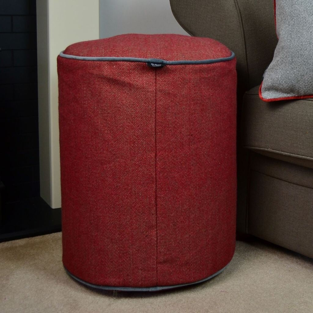 McAlister Textiles Deluxe Herringbone Red Ottoman Stool Round Stool