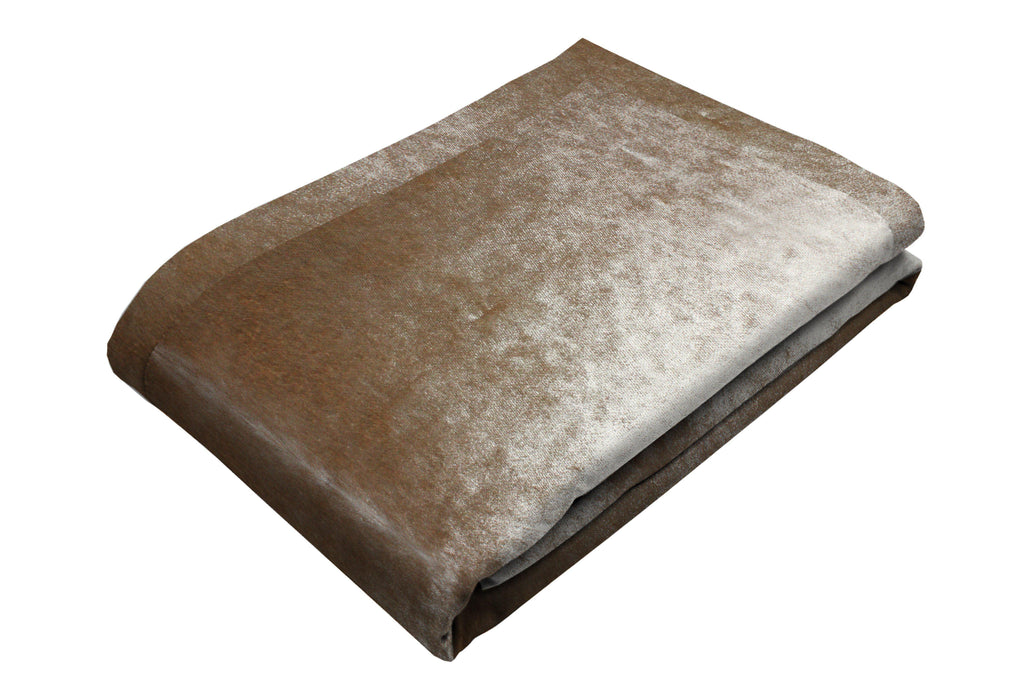 McAlister Textiles Beige Mink Crushed Velvet Throw Throws and Runners Bed Runner (50cm x 240cm)