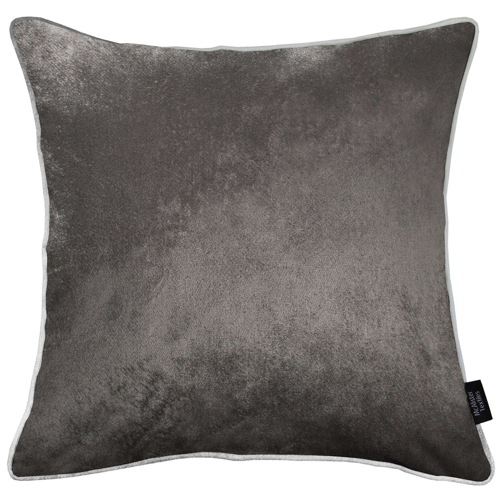 McAlister Textiles Charcoal Grey Crushed Velvet Cushions Cushions and Covers Cover Only 43cm x 43cm