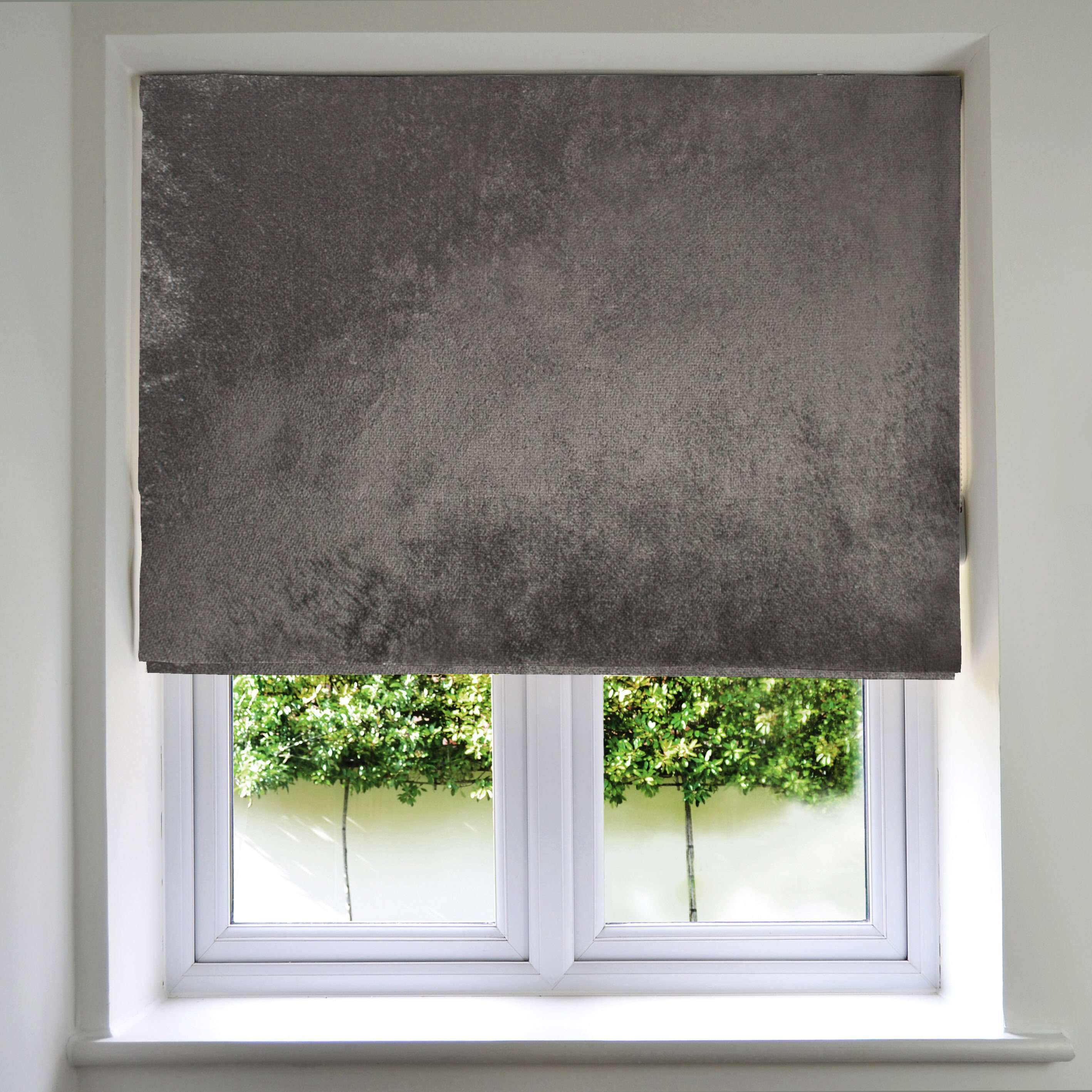 McAlister Textiles Charcoal Grey Crushed Velvet Roman Blind Roman Blinds Standard Lining 130cm x 200cm