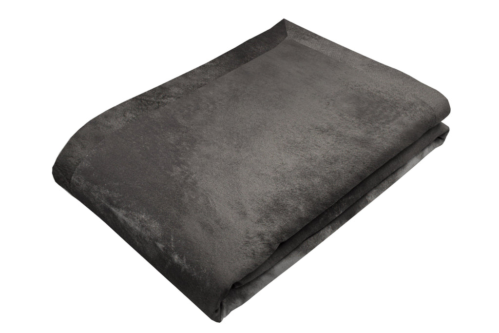 McAlister Textiles Charcoal Grey Crushed Velvet Throw Throws and Runners Bed Runner (50cm x 240cm)
