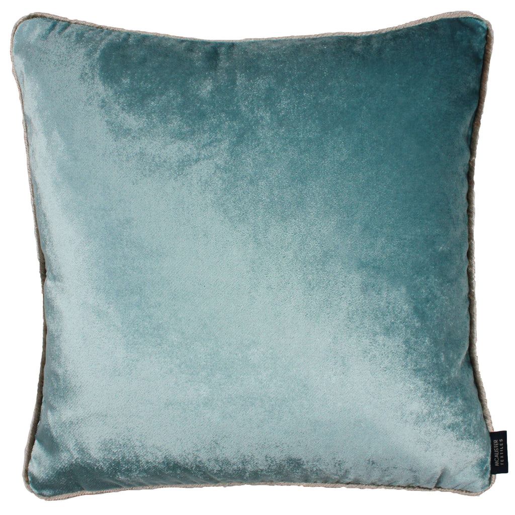 McAlister Textiles Shiny Duck Egg Blue Crushed Velvet Cushions Cushions and Covers Cover Only 43cm x 43cm