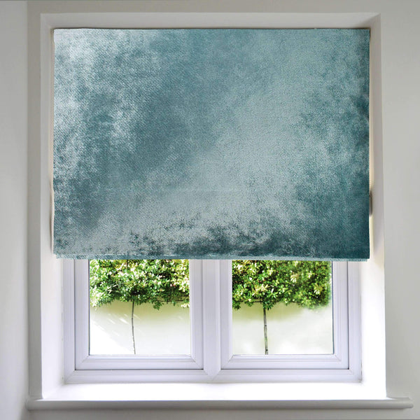 McAlister Textiles Duck Egg Blue Crushed Velvet Roman Blind Roman Blinds