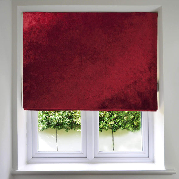 McAlister Textiles Wine Red Crushed Velvet Roman Blind Roman Blinds
