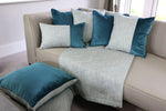 Carica l'immagine nel visualizzatore di Gallery, McAlister Textiles Skye Tweed and Velvet Insert Edge Cushion - Teal Cushions and Covers
