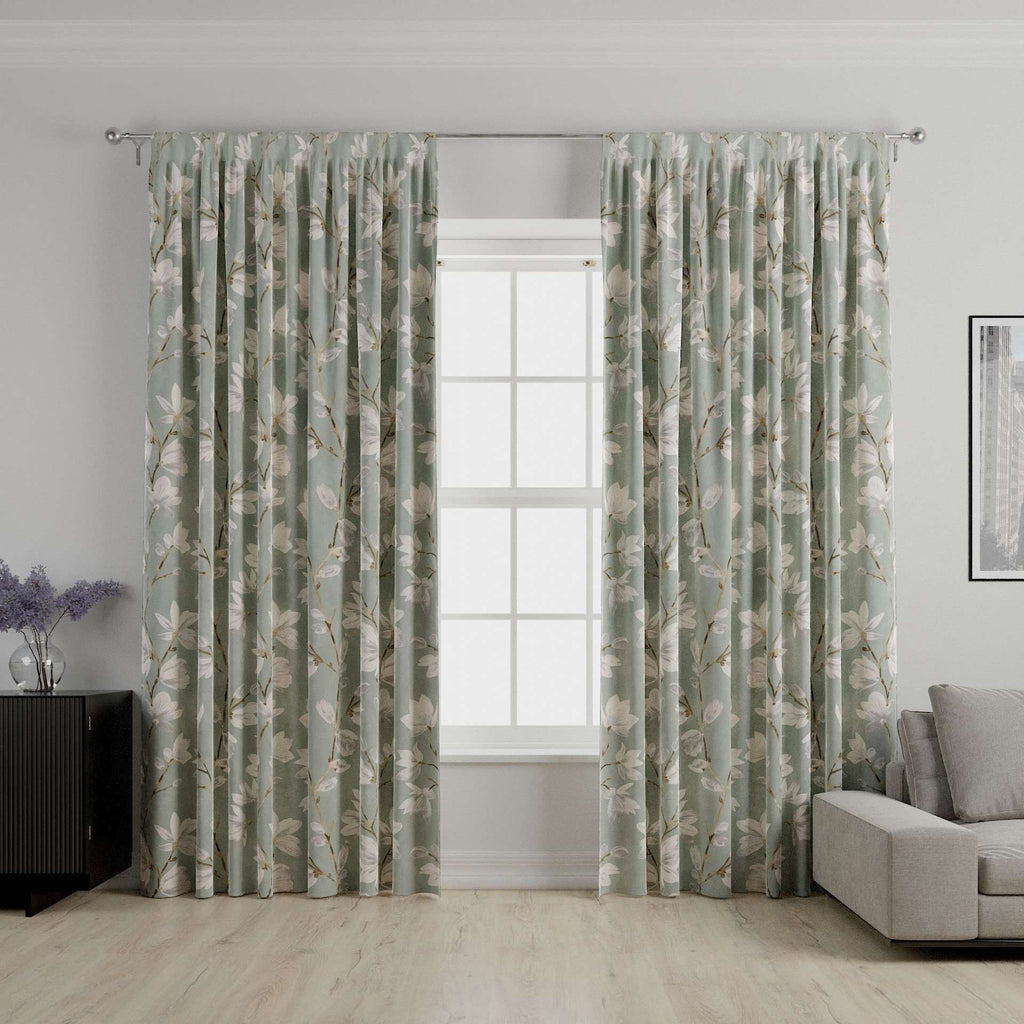 McAlister Textiles Magnolia Duck Egg Floral Cotton Print Curtains Tailored Curtains