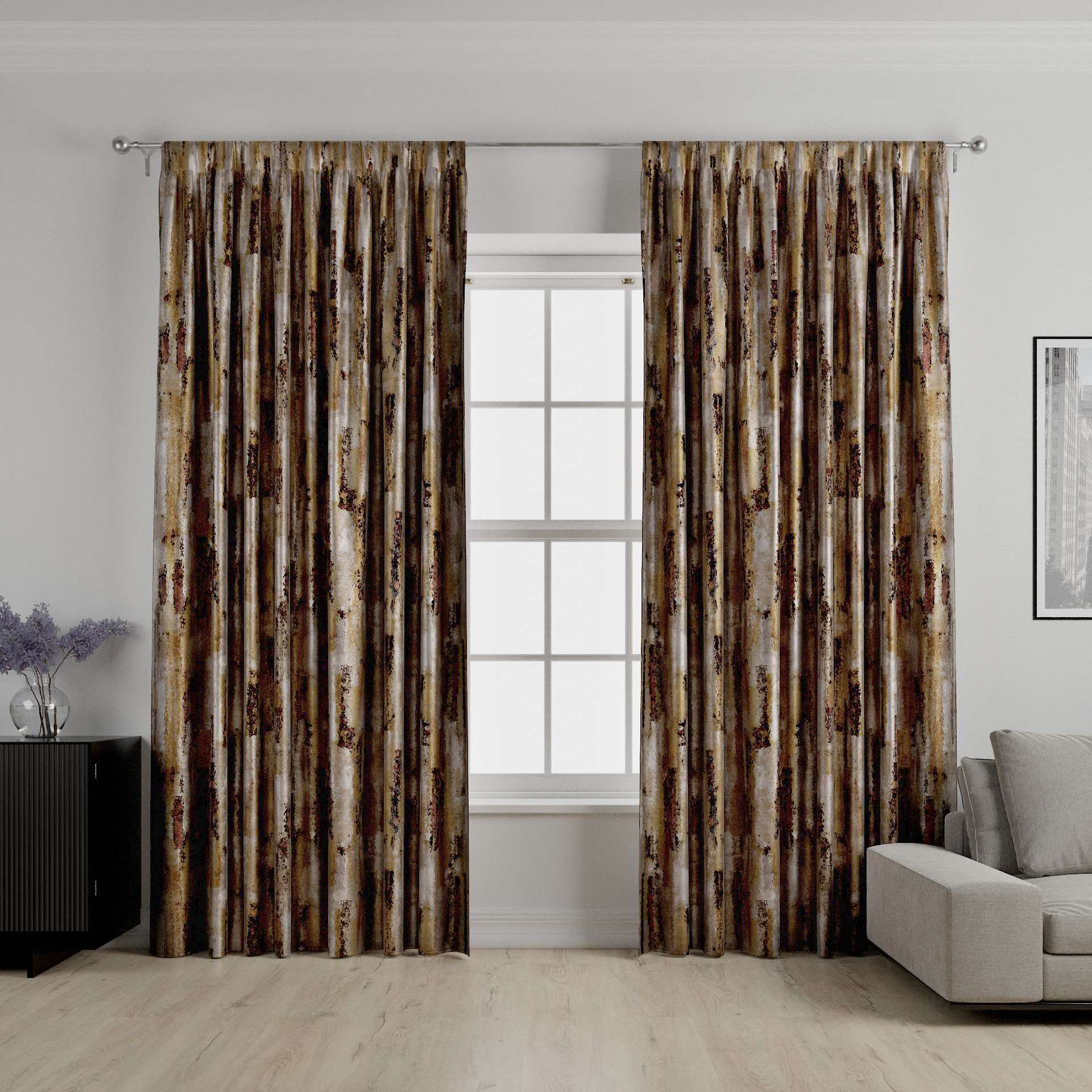 McAlister Textiles Aura Ochre Printed Velvet Curtains Tailored Curtains