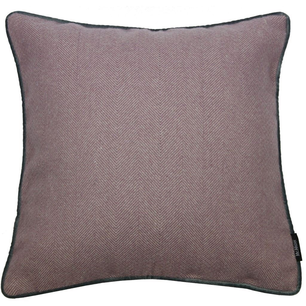McAlister Textiles Herringbone Boutique Purple + Grey Cushion Cushions and Covers Cover Only 43cm x 43cm