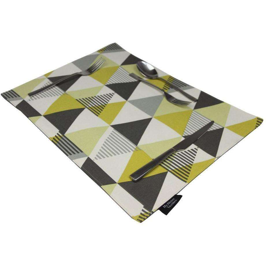 McAlister Textiles Vita Ochre Yellow Cotton Placemat Set Kitchen Accessories