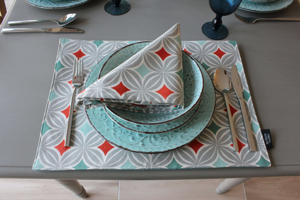 McAlister Textiles Laila Burnt Orange Cotton Placemat Set Kitchen Accessories