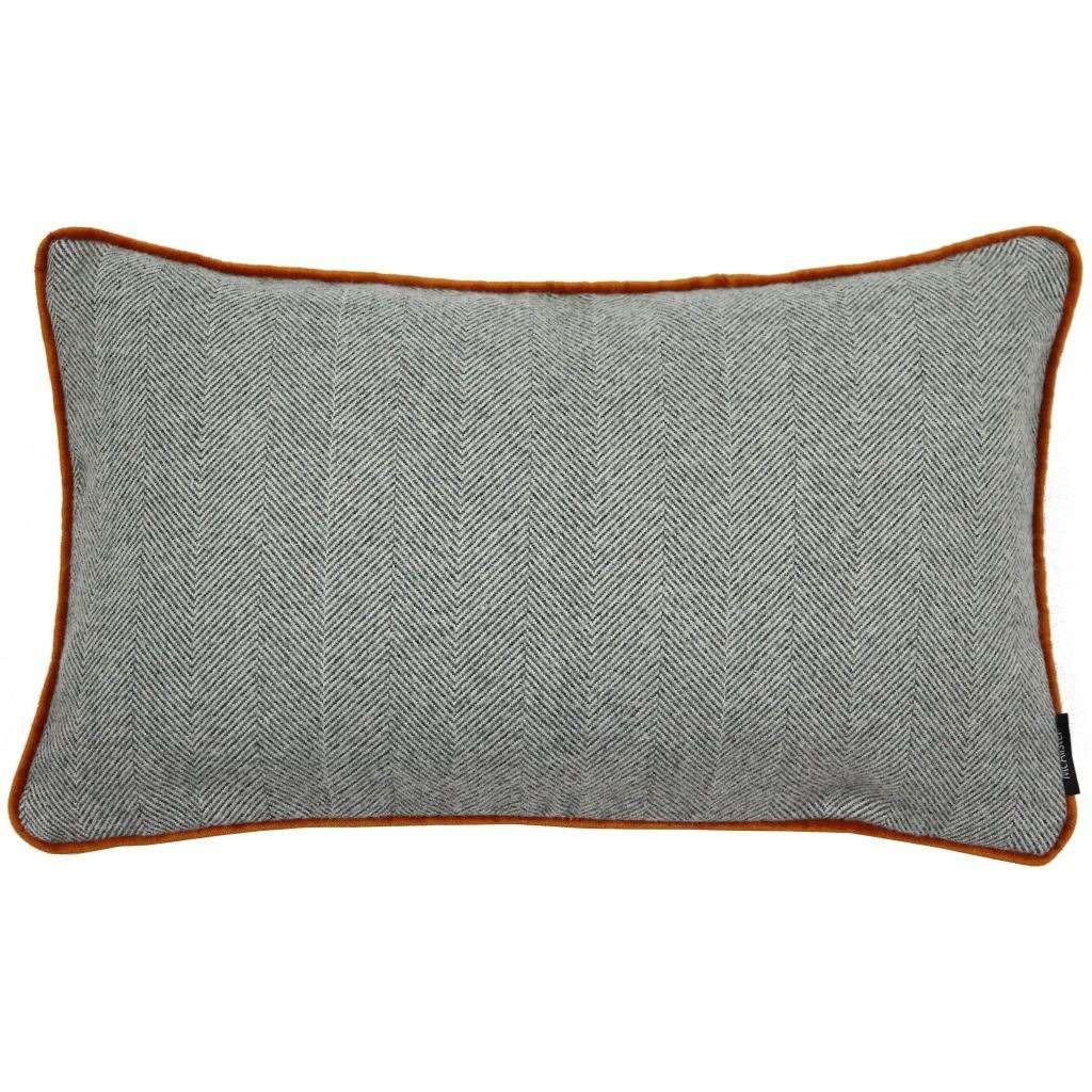 McAlister Textiles Herringbone Boutique Grey + Orange Cushion Cushions and Covers Cover Only 50cm x 30cm