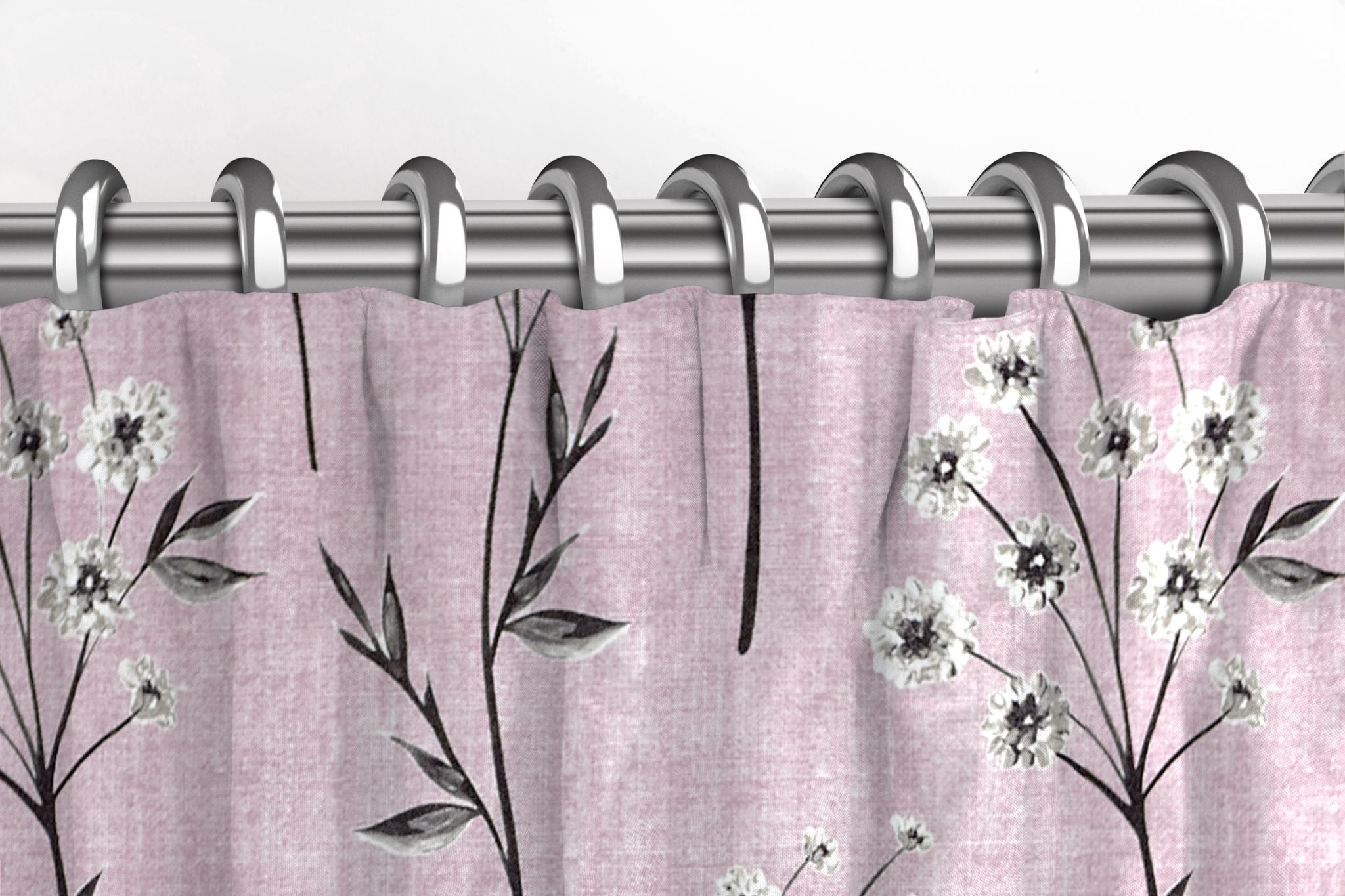McAlister Textiles Meadow Blush Pink Floral Cotton Print Curtains Tailored Curtains