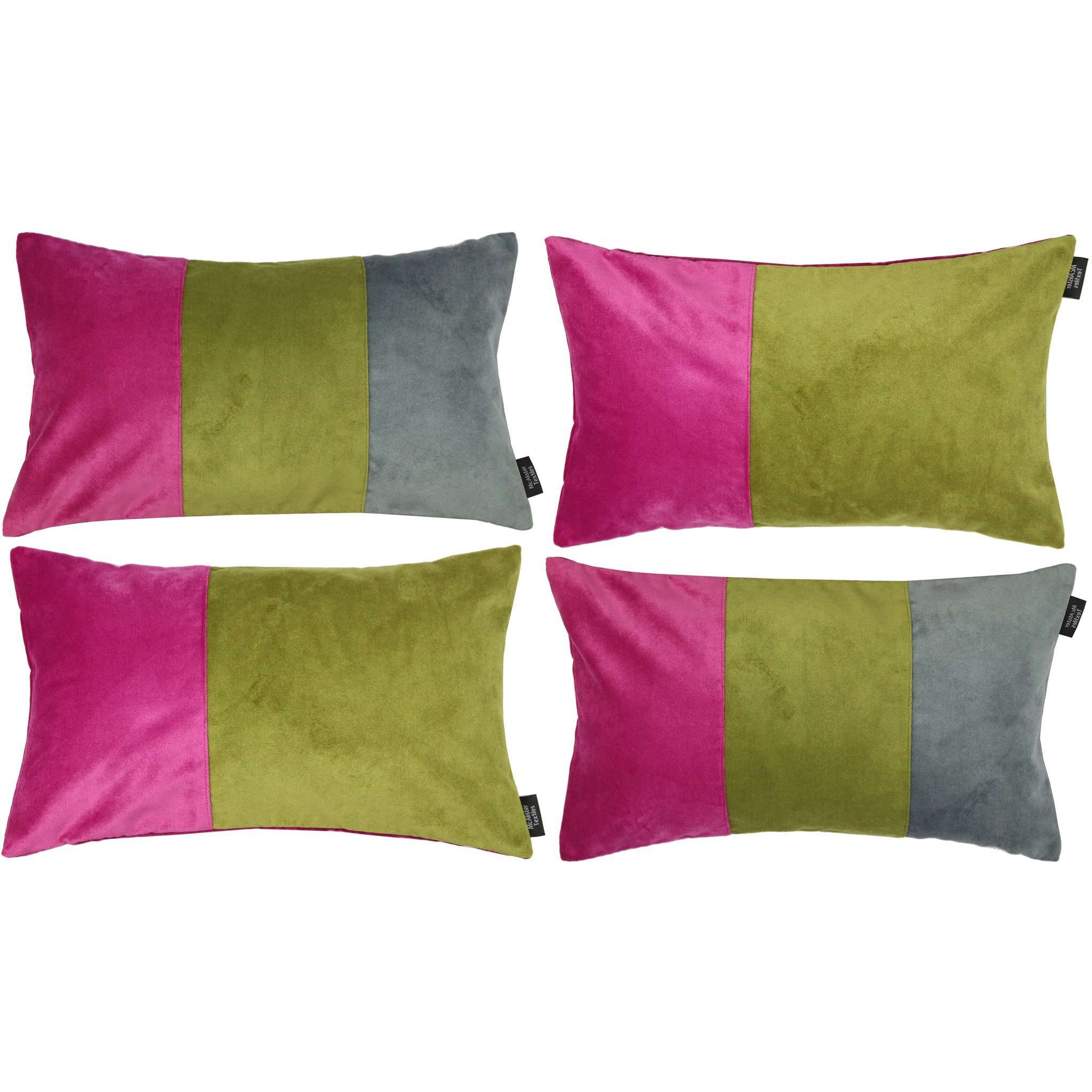 McAlister Textiles Patchwork Velvet Pink, Green + Grey 50cm x 30cm Pillow Sets Pillow Set of 4 Cushion Covers