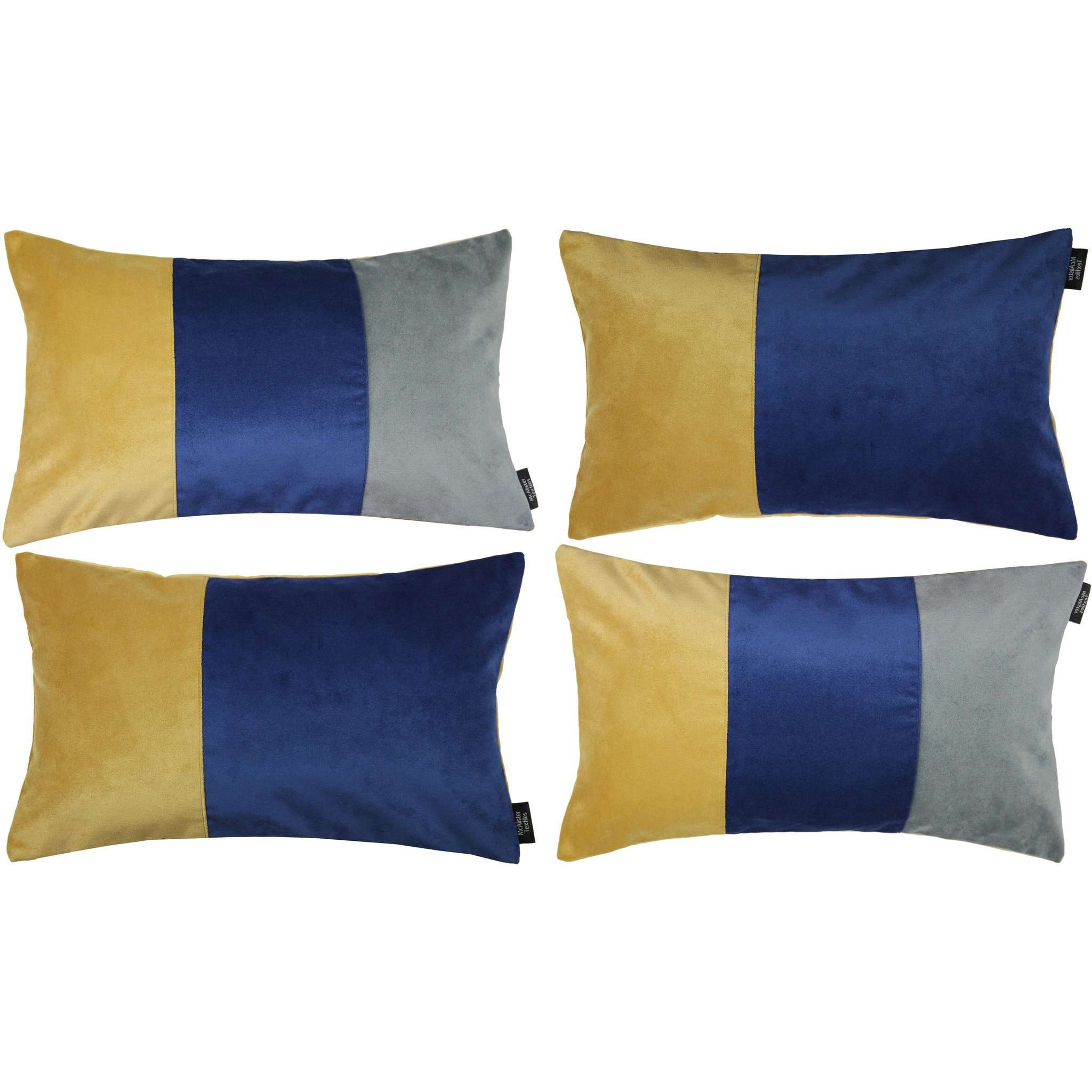McAlister Textiles Patchwork Velvet Navy, Yellow + Grey Pillow Set Pillow Set of 4 Cushion Covers