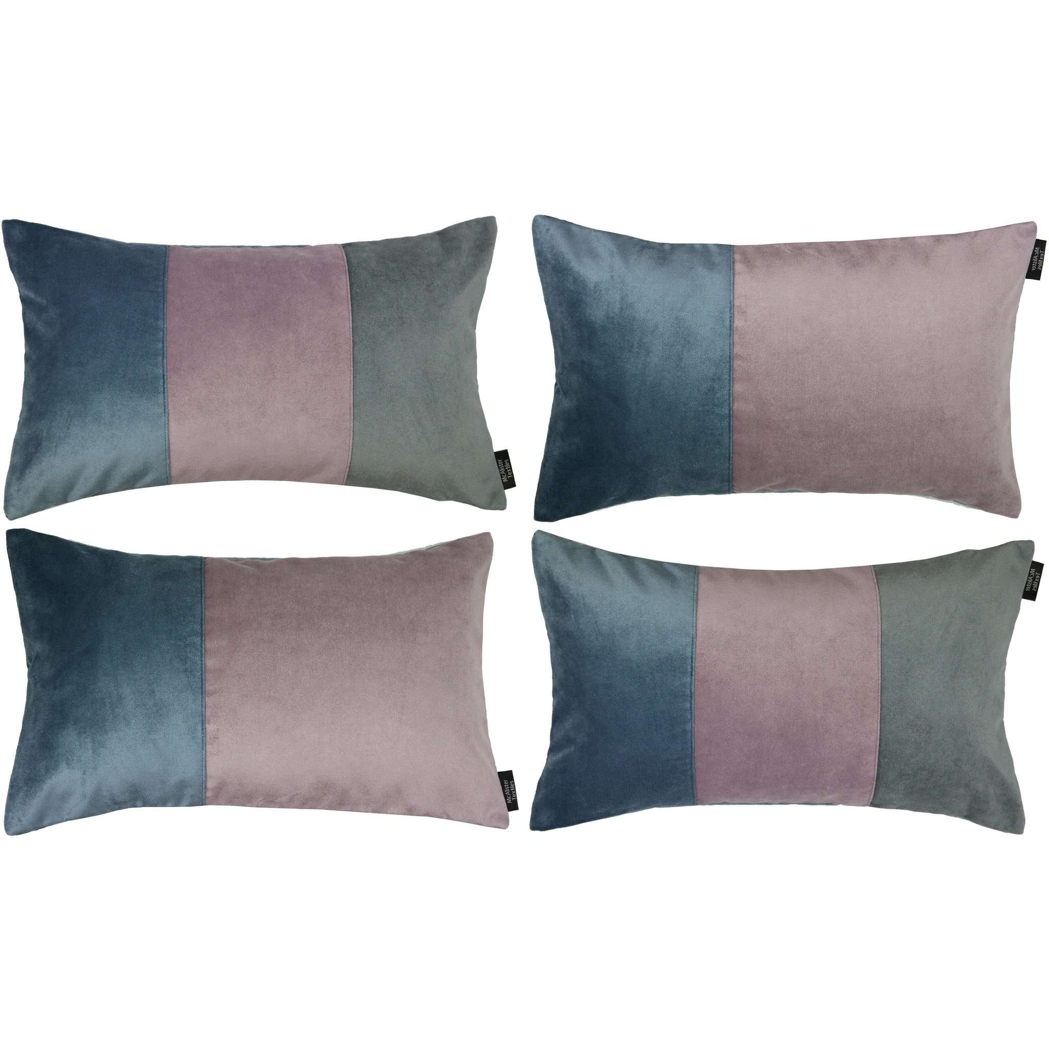 McAlister Textiles Patchwork Velvet Blue, Purple + Grey Pillow Set Pillow Set of 4 Cushion Covers