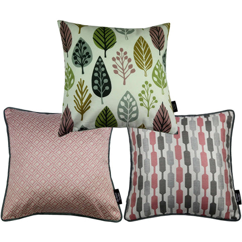McAlister Textiles Copenhagen Funky Cushion Set of 3 - Blush Pink + Grey-Cushions and Covers-