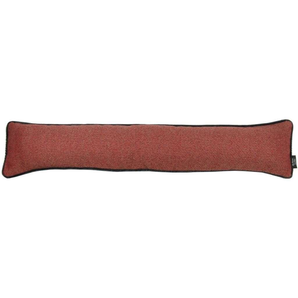 McAlister Textiles Herringbone Boutique Red + Grey Draught Excluder Draught Excluders