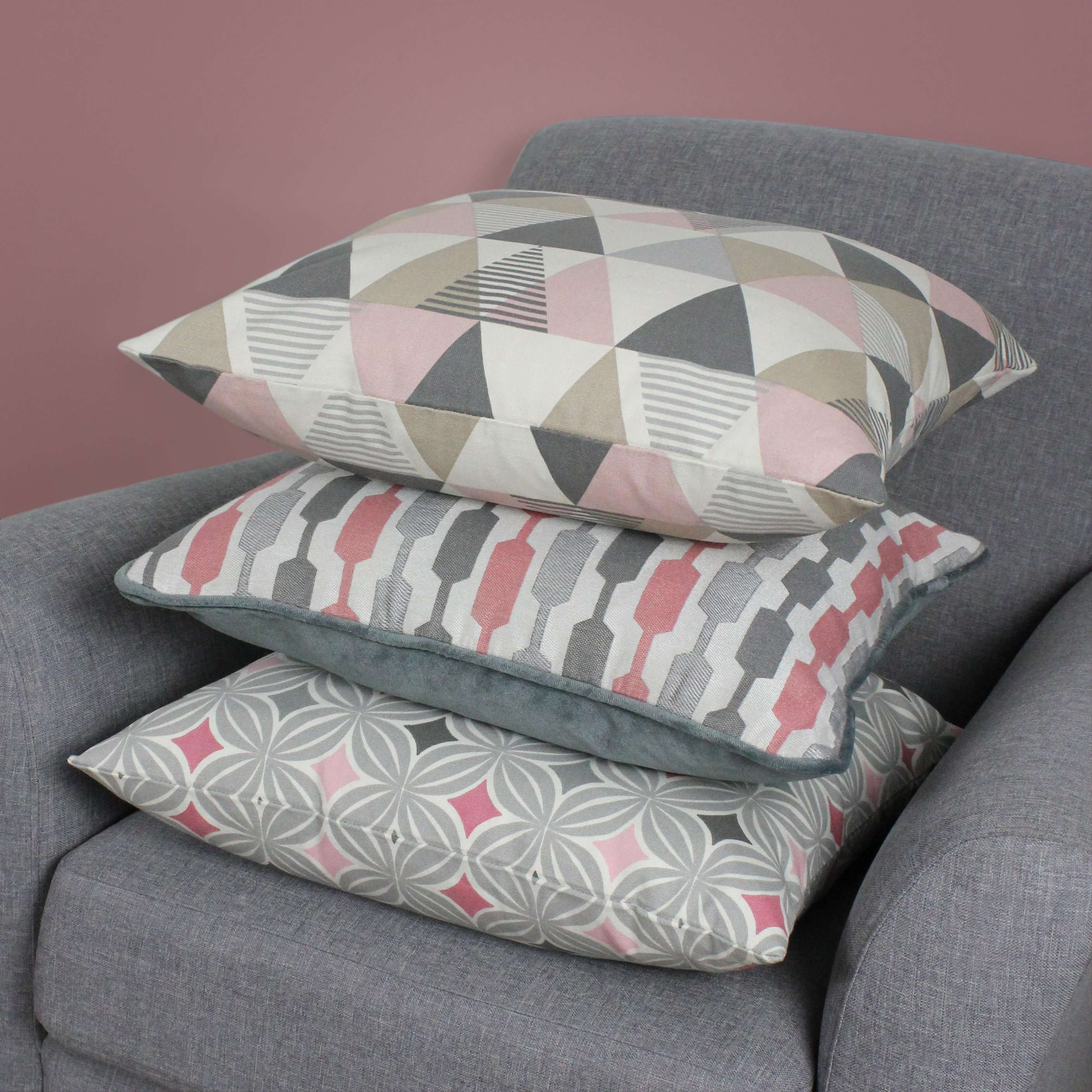 McAlister Textiles Vita Cotton Print Blush Pink Cushion Cushions and Covers