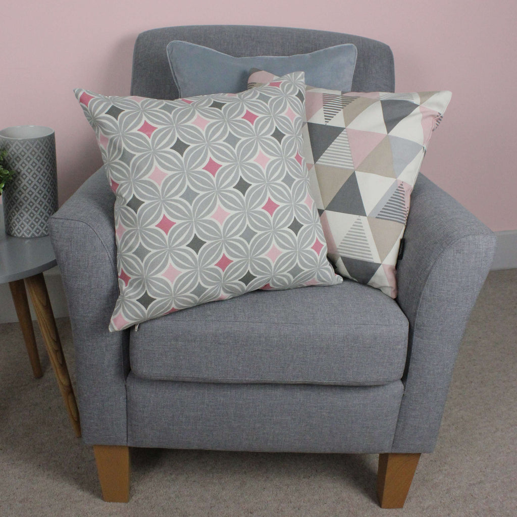 McAlister Textiles Laila Cotton Print Blush Pink Cushion Cushions and Covers