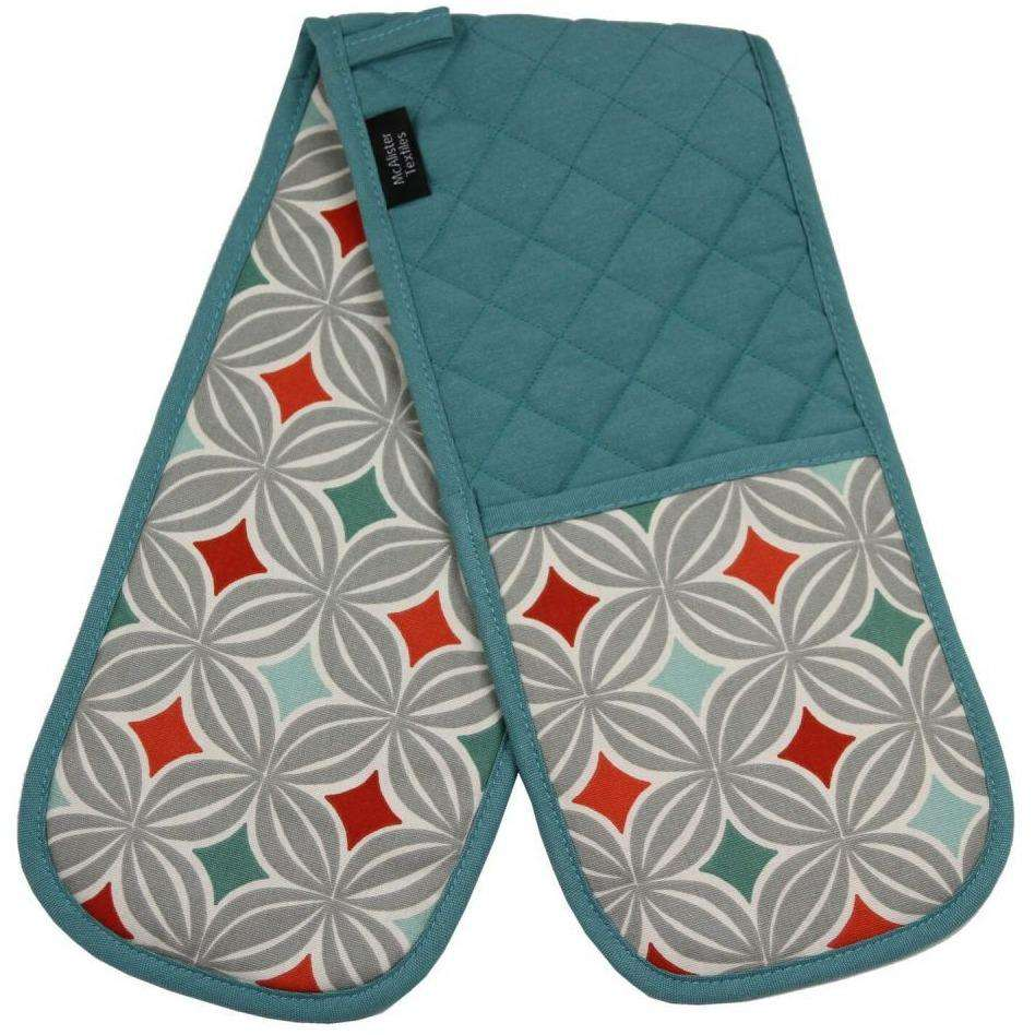 McAlister Textiles Laila Burnt Orange Cotton Print Double Oven Mitts Kitchen Accessories