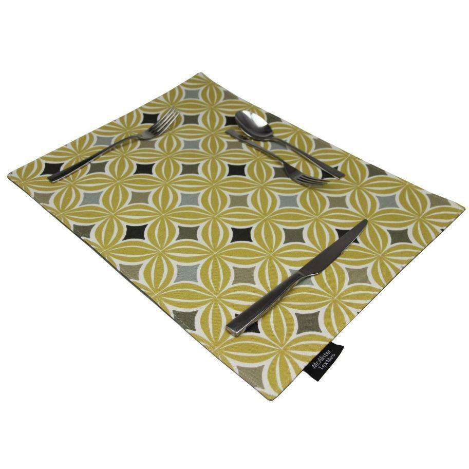 McAlister Textiles Laila Ochre Yellow Cotton Placemat Set Kitchen Accessories