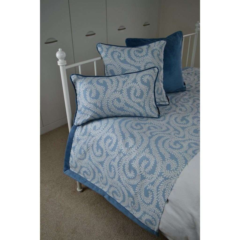 McAlister Textiles Little Leaf Wedgewood Blue Throws & Runners Throws and Runners