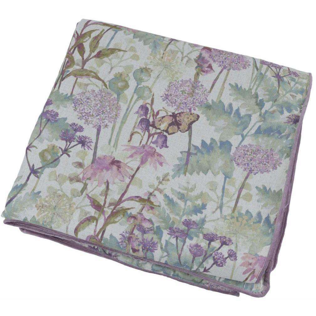 McAlister Textiles Wildflower Pastel Purple Linen Throw Throws and Runners Large (180cm x 254cm)
