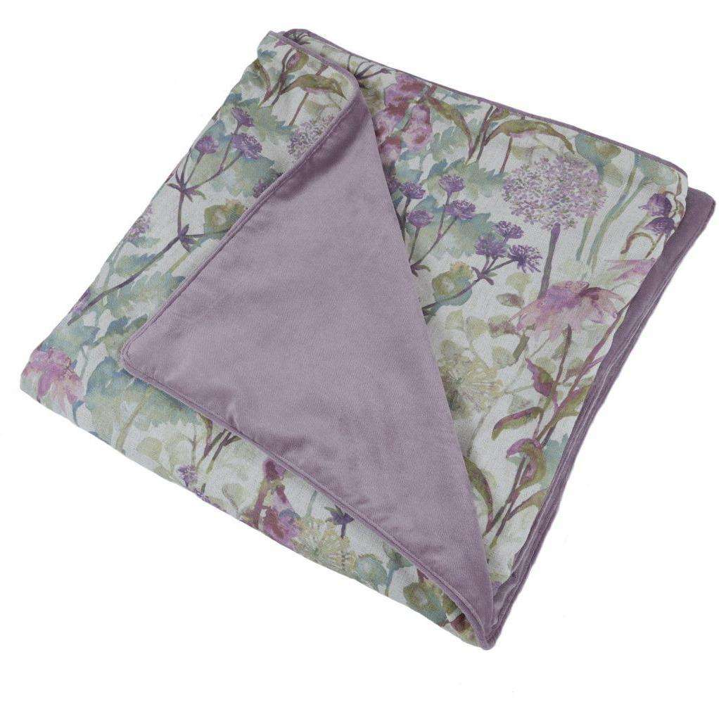 McAlister Textiles Wildflower Pastel Purple Linen Throws & Runners Throws and Runners