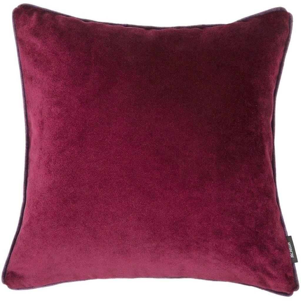 McAlister Textiles Matt Wine Red Velvet Cushion Cushions and Covers Cover Only 43cm x 43cm