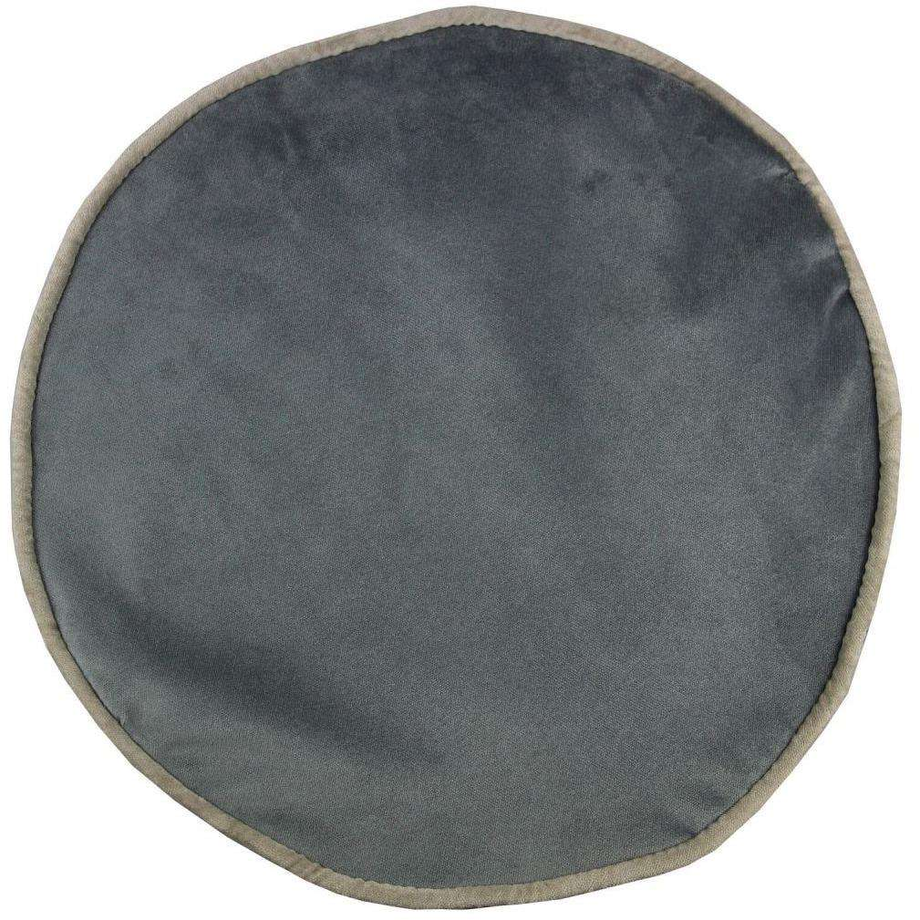 McAlister Textiles Deluxe Velvet Charcoal Grey Ottoman Stool Round Stool