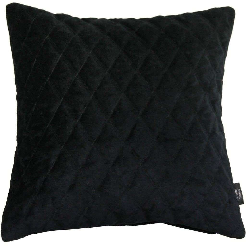 McAlister Textiles Diamond Quilted Black Velvet Cushion Cushions and Covers Cover Only 43cm x 43cm