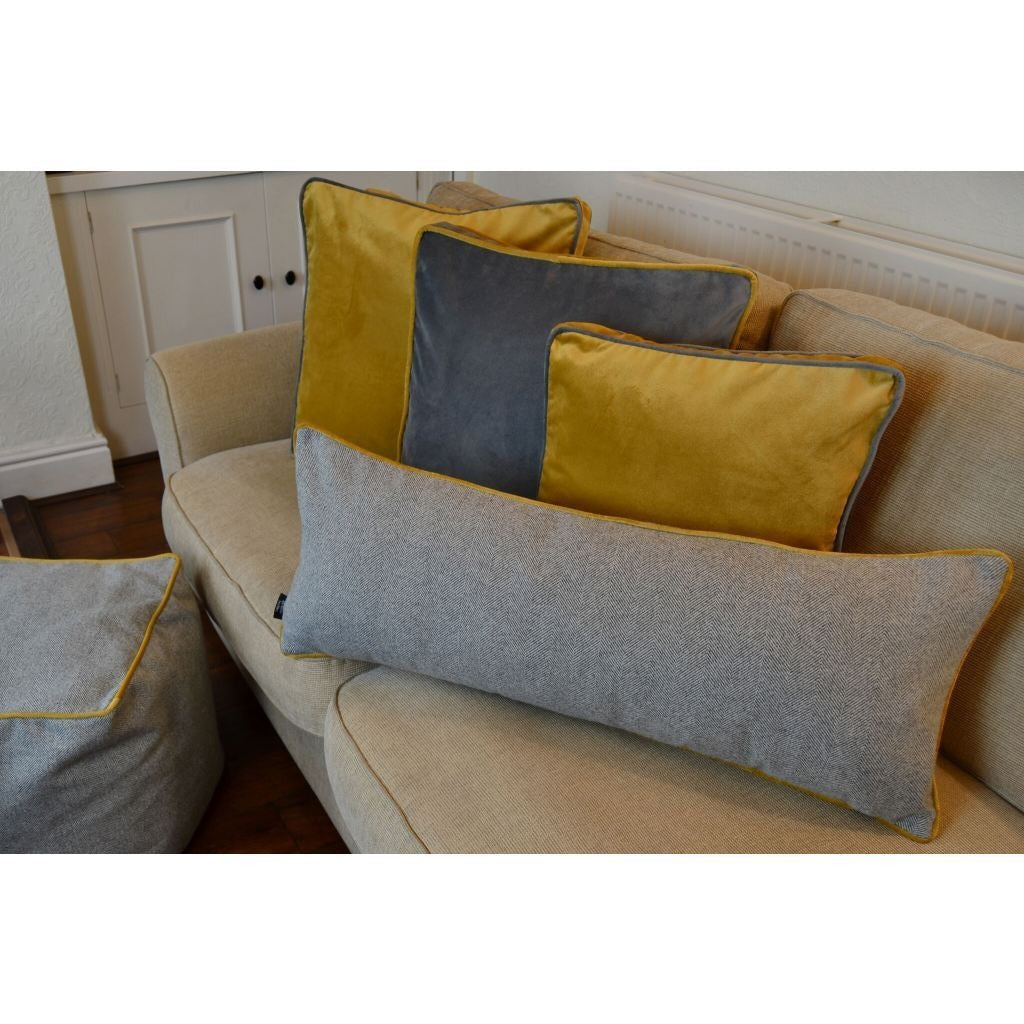 McAlister Textiles Deluxe Herringbone Grey + Yellow Bed Pillow Large Boudoir Cushions