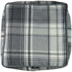 Load image into Gallery viewer, McAlister Textiles Deluxe Tartan Charcoal Grey Cube Seat Stool Square Stool